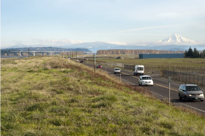 A levee along the Columbia River bordering Northeast Marine Drive
